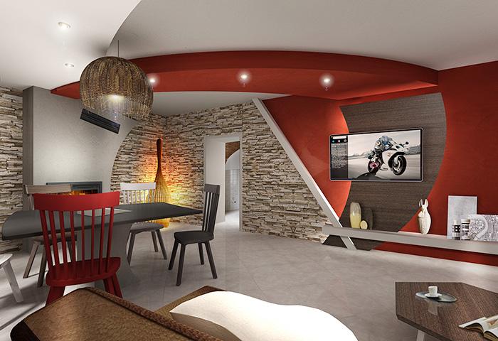 Immagini soggiorno moderno con camino parete attrezzata for Immagini soggiorno moderno