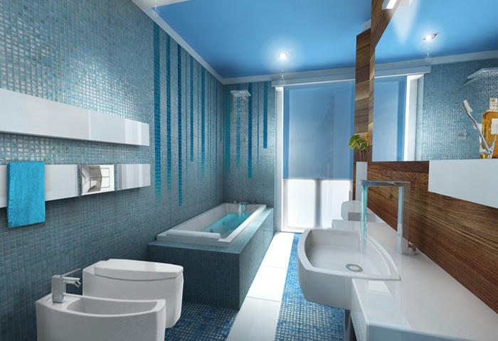 Bagni Blu Mosaico : Blu grigio bagno gabinetto moderno toni mosaico