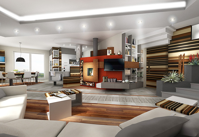 Quinta dimensione design studio massimo salvagno for Arredamento moderno ma caldo