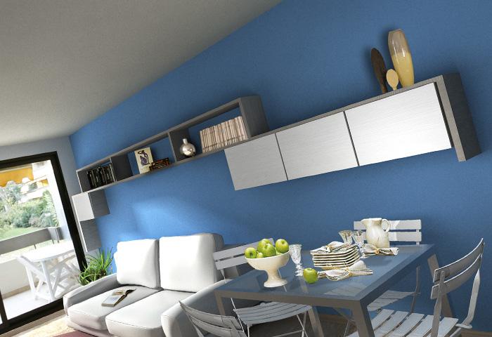 quinta dimensione // design studio // massimo salvagno ... - Soggiorno Pareti Azzurre