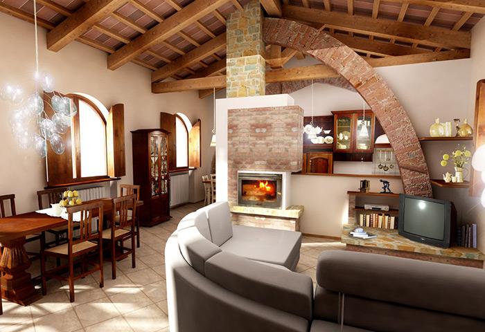 Pavimento In Cotto E Arredamento Moderno. Fabulous Progetto Cucina Muratura Classica Pavimenti E ...
